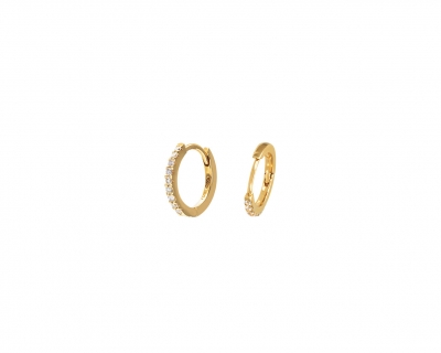 Half pavé diamonds earring