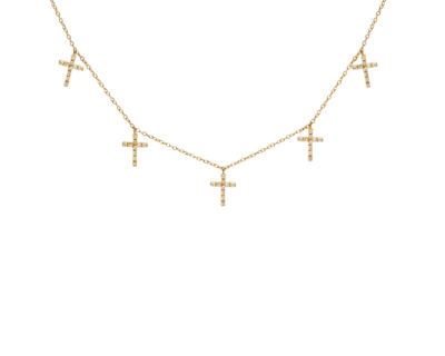 Collier 5 Croix Diamants